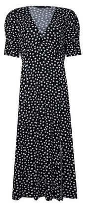 Dorothy Perkins Womens Black Spot Print Jersey Midi Skater Dress, Black