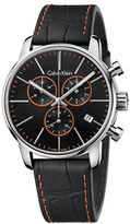 Calvin Klein Mens Swiss City Stainless Steel Contrast Chronograph Black Leather Strap Watch