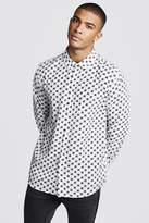 BoohoomanBoohooMAN Mens White MAN Repeat Design Long Sleeve Shirt, White