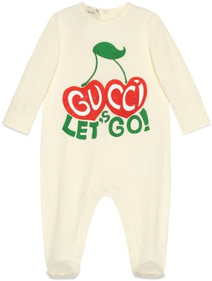 Gucci Baby cotton 'Let's Go' and cherries one-piece