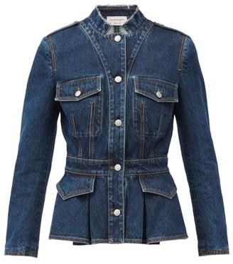 Alexander McQueen Peplum-hem Tailored Denim Jacket - Blue