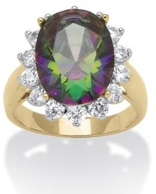 PalmBeach Jewelry Yellow Gold-plated Mystic Fire Cubic Zirconia Halo Cocktail Ring - Multi/White - Multi/White