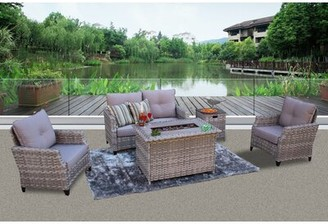 Chu 5 Piece Rattan Sofa Seating Group with Cushions Darby Home Co