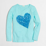 J.Crew Factory Girls' long-sleeve sequin heart keepsake T-shirt