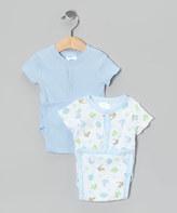 SpaSilk Blue Dino Wrap Bodysuit Set - Infant