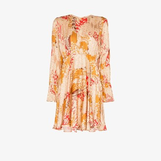 By Ti Mo Floral Gathered Pleated Mini Dress