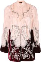 Wandering pearl embellished velvet blouse