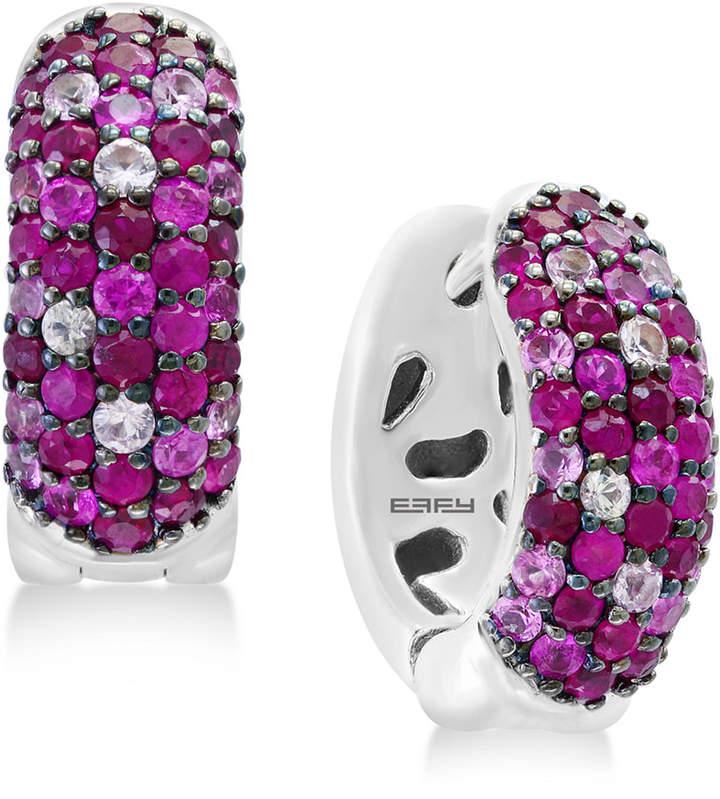 Effy Splash by Ruby (1-3/8 ct. t.w.) & Pink Sapphire (3/4 ct. t.w.) Hoop Earrings in Sterling Silver