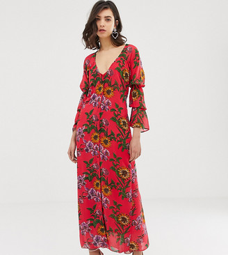 Dusty Daze ruched front maxi dress in floral