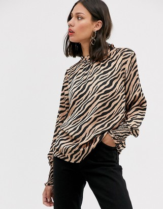 Only zebra print balloon sleeve blouse-Pink