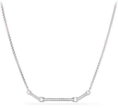David Yurman Petite Pave Necklace With Diamonds In 18K White Gold