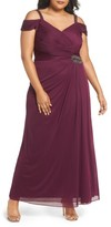 Alex Evenings Plus Size Women's Embellished Cold Shoulder Gown