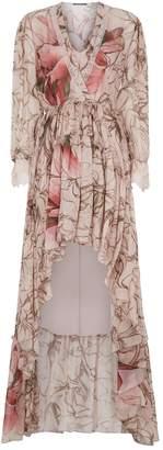 Alberta Ferretti V-Neck Floral Print Gown