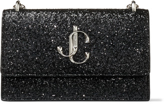 Jimmy Choo BOHEMIA Black Galactica Glitter Fabric Mini Bag with Chain Strap