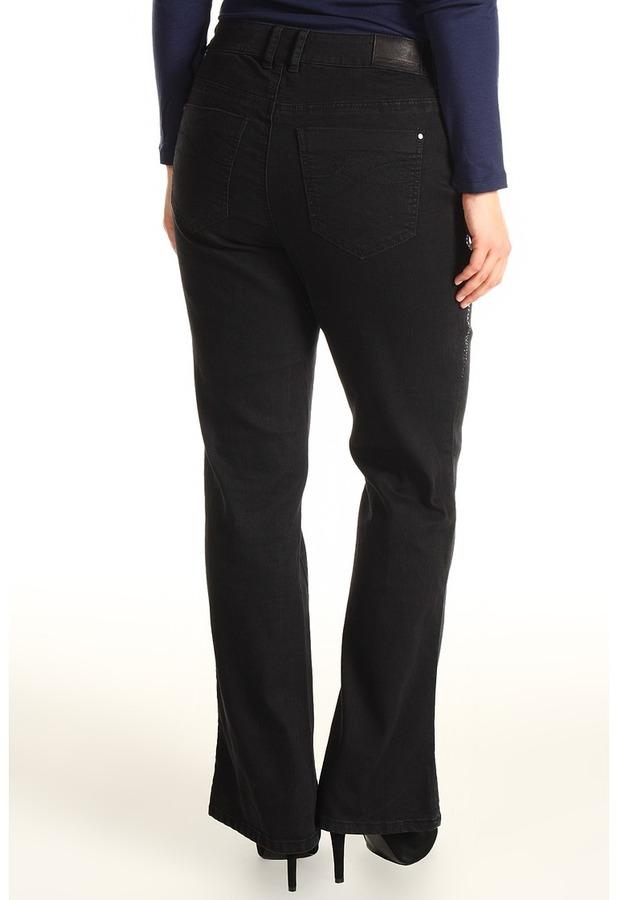 DKNY Plus Size Mercer Babybell 34 w/ Bling Detail in Twilight Wash (Twilight Wash) - Apparel