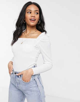 New Look puff sleeve square neck top in cream