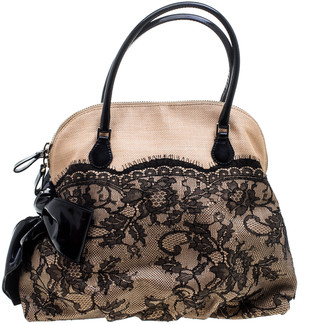 Valentino Beige/Black Canvas and Lace Bow Dome Satchel