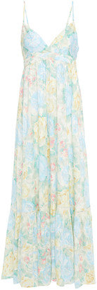 Paul & Joe Lace-trimmed Floral-print Cotton-jacquard Maxi Dress