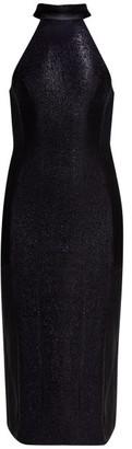 Galvan Dusk Mesh-panel Lame Dress - Navy