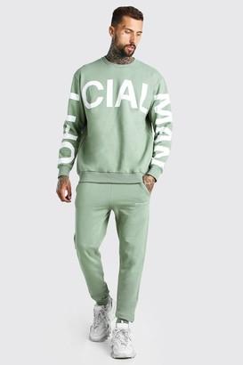 boohoo Mens Green Loose Fit Official MAN Print jumper Tracksuit, Green