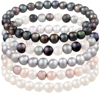 Splendid Pearls 6-7mm Multicolor Freshwater Pearl Stretch Bracelet Set