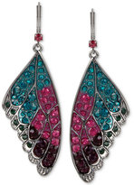 Betsey Johnson Hematite-Tone Colored Pavé Butterfly Wing Drop Earrings