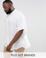 Tommy Hilfiger Plus Linen Shirt Short Sleeve Slim Fit In White