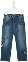 MSGM Kids sequinned-star straight jeans