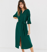 Monki belted midi dress with front slit in dark green