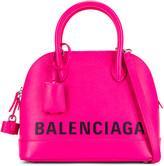 Balenciaga Small Logo Ville Top Handle Bag in Acid Fuchsia & Black | FWRD