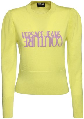 Versace Jeans Couture Logo Intarsia Wool Knit Sweater