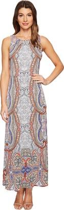 London Times Women's Sleeveless Round Neck Jersey Maxi Dress