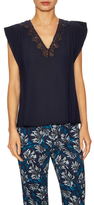 Rebecca Taylor Crepe Lace Panel Cap Sleeve Top
