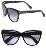 Tod's Metal Rim Classic Cat's-Eye Sunglasses/Black