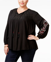 Style&Co. Style & Co Plus Size Embroidered Beaded Peasant Top, Only at Macy's