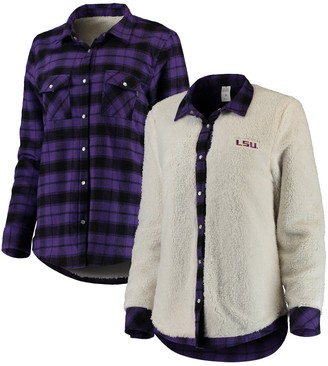 Unbranded Women's Purple/Cream LSU Tigers Reversible Sherpa Flannel Long Sleeve Button-Up Shirt