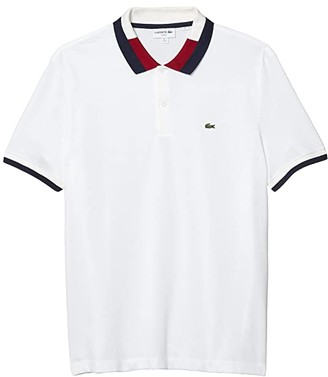 Lacoste Short Sleeve Slim Fit Polo with A Semi Fancy Collar and Striped Sleeves (White/Navy Blue/Flour/Bordeaux) Men's Clothing