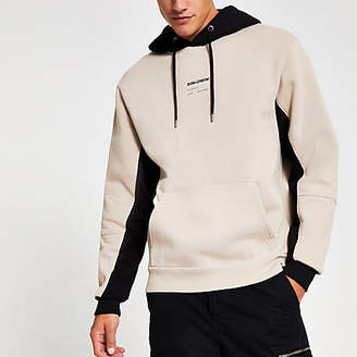 River Island Stone Svnth embroidered colour block hoodie