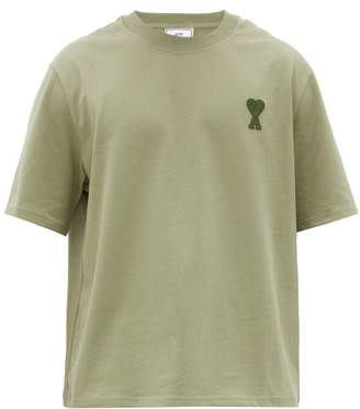 Ami Logo-patch Cotton-jersey T-shirt - Mens - Khaki