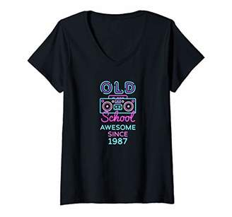 Womens Old School Awesome Since 1987 Great Birthday Reunion Gift V-Neck T-Shirt