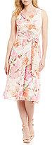 Jessica Howard Chiffon Sleeveless Cowlneck Floral Dress
