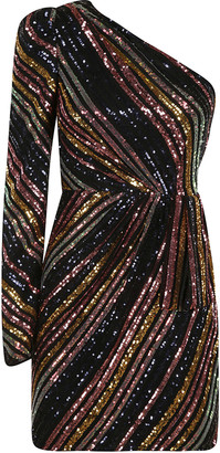 Self-Portrait Stripe Sequin Asymmetric Mini Dress