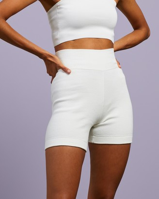 Dazie - Women's White High-Waisted - About Time Knit Bike Shorts - Size S at The Iconic