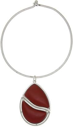 The Sak Red Jasper Teardrop Pendant Coil Necklace