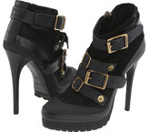 Leather and Suede Platform Ankle Boot