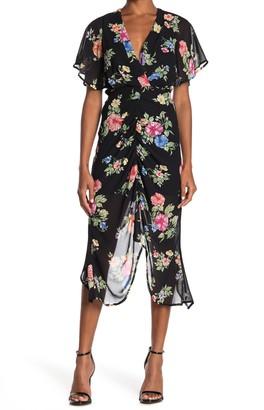 FAVLUX Asymmetrical Floral Midi Dress