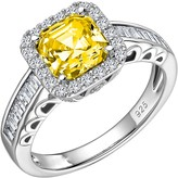 Lafonn Micro Pave Simulated Diamond & Canary Sterling Silver Ring