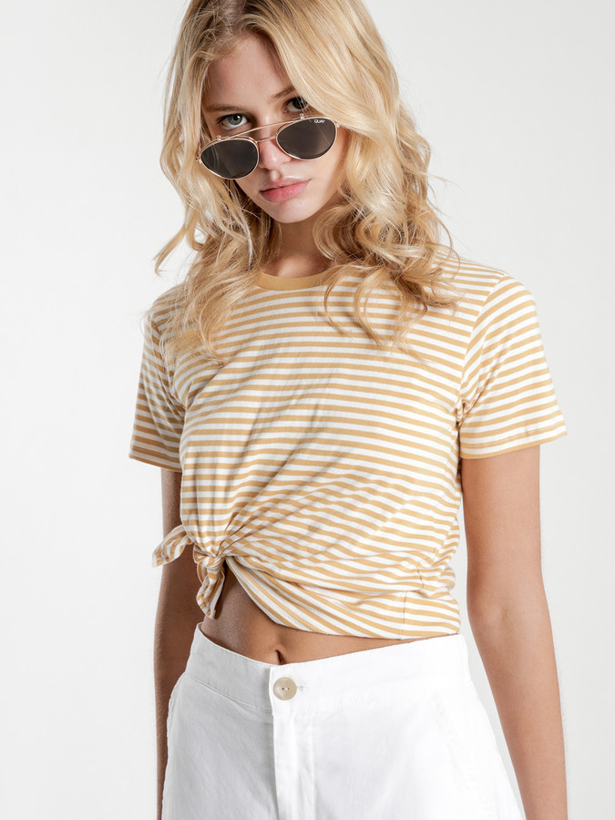 Nude Lucy Gracie Knot Front T-Shirt in Mustard Stripe