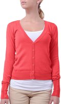 NE PEOPLE Light Button Down Long Sleeve V Neck Knit Cardigan-CORAL-L