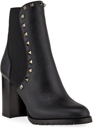 Valentino Garavani Rockstud Leather Chelsea Booties